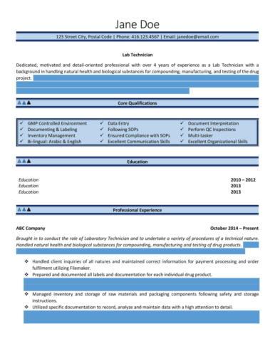 Intermediate - Lab Technician Resume Sample-1